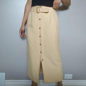 Pastel Button Down Midi Skirt